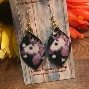 "Faux Leather Earrings 1.5"" Girl's Black Unicorn"